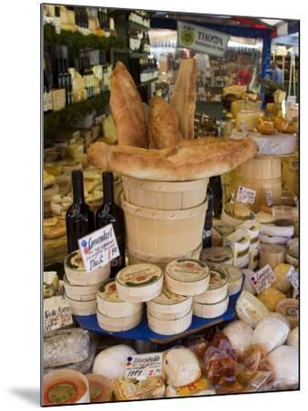 Cheese and Bread on Food Stall at Viktualienmarkt, Munich, Bavaria, Germany-Yadid Levy-Mounted Photographic Print