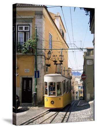 Funicular at Elevador Da Bica, Lisbon, Portugal-Yadid Levy-Stretched Canvas Print