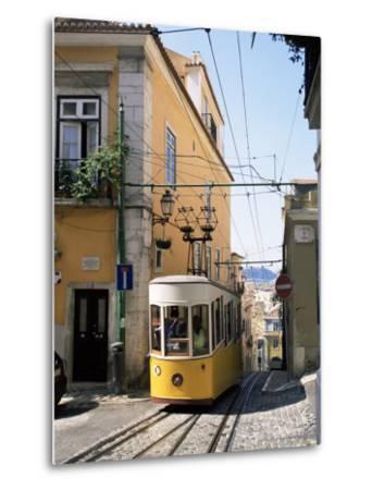 Funicular at Elevador Da Bica, Lisbon, Portugal-Yadid Levy-Metal Print