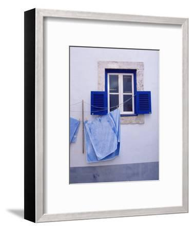 Laundry Hanging on Line at Window in the Moorish Quarter of Alfama, Lisbon, Portugal-Yadid Levy-Framed Photographic Print