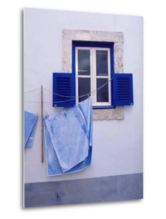Laundry Hanging on Line at Window in the Moorish Quarter of Alfama, Lisbon, Portugal-Yadid Levy-Metal Print