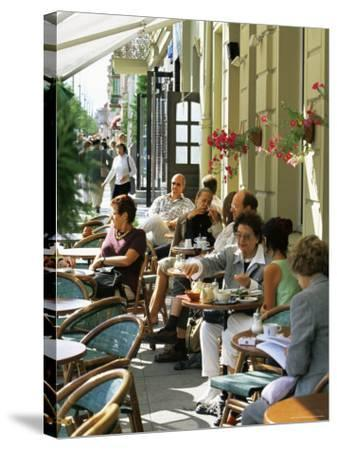 Cafe at Gedimino Pospektas, the Main Street of the Modern City, Vilnius, Lithuania-Yadid Levy-Stretched Canvas Print