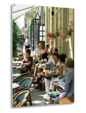 Cafe at Gedimino Pospektas, the Main Street of the Modern City, Vilnius, Lithuania-Yadid Levy-Metal Print