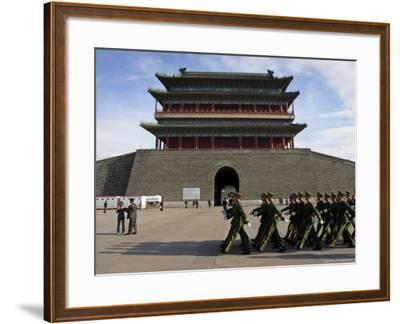 Guards March Past Qianmen Gate, Tiananmen Square, Beijing, China-Andrew Mcconnell-Framed Photographic Print