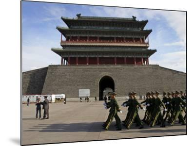Guards March Past Qianmen Gate, Tiananmen Square, Beijing, China-Andrew Mcconnell-Mounted Photographic Print