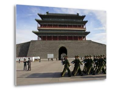Guards March Past Qianmen Gate, Tiananmen Square, Beijing, China-Andrew Mcconnell-Metal Print