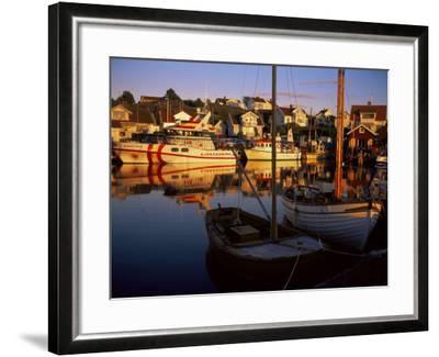 Sundown Over South Harbour, Village of Fjallbacka, Bohuslan, Sweden, Scandinavia-Kim Hart-Framed Photographic Print