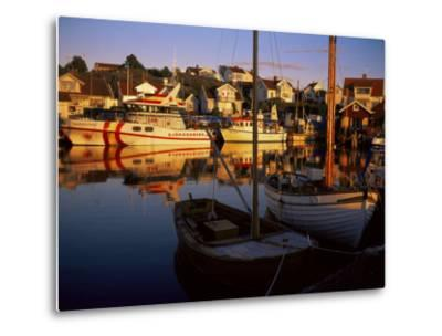 Sundown Over South Harbour, Village of Fjallbacka, Bohuslan, Sweden, Scandinavia-Kim Hart-Metal Print
