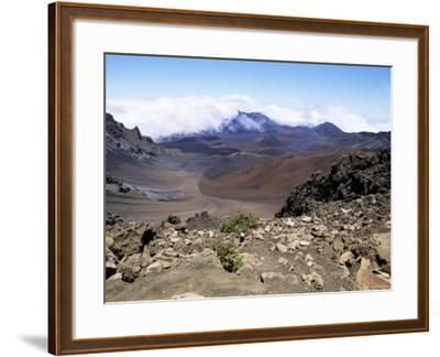 Cinder Cone and Iron-Rich Lava Weathered to Brown Oxide in the Crater of Haleakala-Robert Francis-Framed Photographic Print