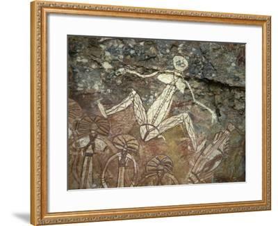 Barrginj, Wife of Namarrgon the Lightning Man, a Supernatural Ancestor at Aboriginal Rock Art Site-Robert Francis-Framed Photographic Print