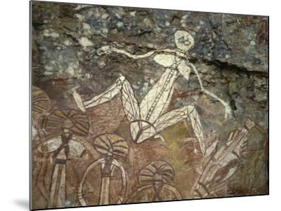Barrginj, Wife of Namarrgon the Lightning Man, a Supernatural Ancestor at Aboriginal Rock Art Site-Robert Francis-Mounted Photographic Print