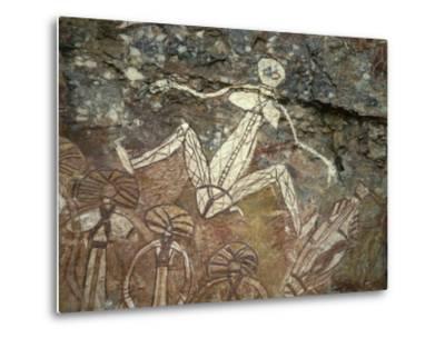 Barrginj, Wife of Namarrgon the Lightning Man, a Supernatural Ancestor at Aboriginal Rock Art Site-Robert Francis-Metal Print