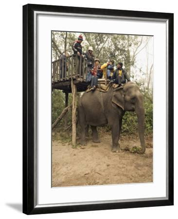 Japanese Tourists Board the Elephant That Will Take Them on Safari-Don Smith-Framed Photographic Print