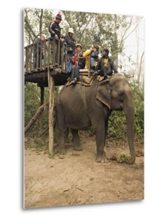 Japanese Tourists Board the Elephant That Will Take Them on Safari-Don Smith-Metal Print