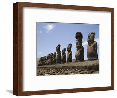 Ahu Tongariki, Unesco World Heritage Site, Easter Island (Rapa Nui), Chile, South America-Michael Snell-Framed Photographic Print