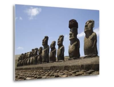 Ahu Tongariki, Unesco World Heritage Site, Easter Island (Rapa Nui), Chile, South America-Michael Snell-Metal Print