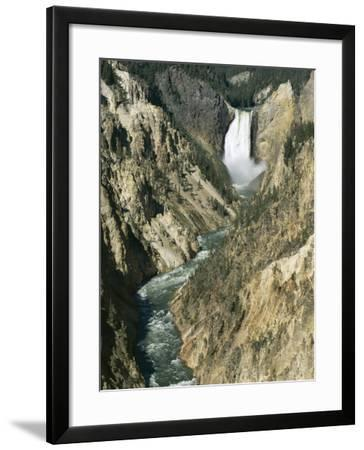 Lower Falls 94M High, Grand Canyon of the Yellowstone River, Yellowstone National Park, Wyoming-Tony Waltham-Framed Photographic Print