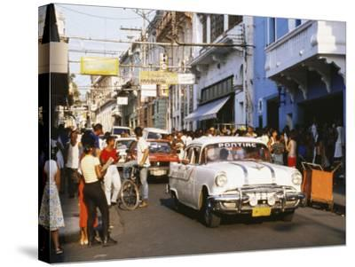Old Pontiac, an American Car Kept Working Since Before the Revolution, Santiago De Cuba, Cuba-Tony Waltham-Stretched Canvas Print