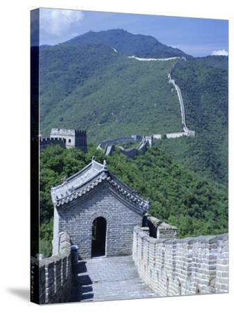 Restored Section with Watchtowers of the Great Wall, Northeast of Beijing, Mutianyu, China-Tony Waltham-Stretched Canvas Print