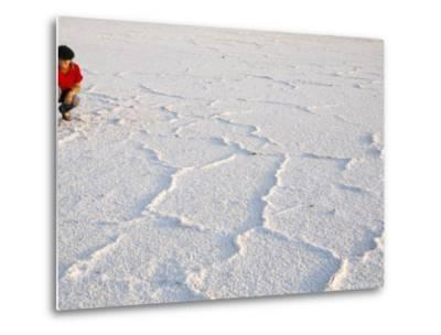 Salt Flats Beside Lac Assal in Rift Valley 152M Below Sea Level, Afar Triangle, Djibouti, Africa-Tony Waltham-Metal Print