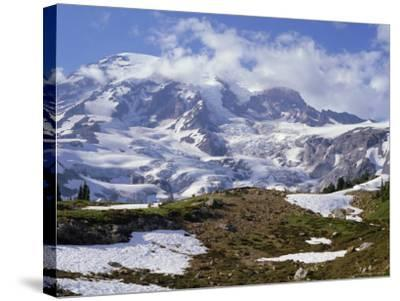 Nisqually Glacier in Foreground, with Mount Rainier, the Volcano Which Last Erupted in 1882, Beyond-Tony Waltham-Stretched Canvas Print