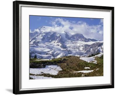 Nisqually Glacier in Foreground, with Mount Rainier, the Volcano Which Last Erupted in 1882, Beyond-Tony Waltham-Framed Photographic Print