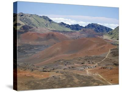 Foot Trail Through Haleakala Volcano Crater Winds Between Red Cinder Cones, Maui, Hawaiian Islands-Tony Waltham-Stretched Canvas Print