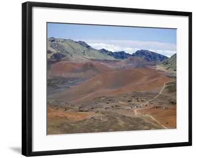 Foot Trail Through Haleakala Volcano Crater Winds Between Red Cinder Cones, Maui, Hawaiian Islands-Tony Waltham-Framed Photographic Print