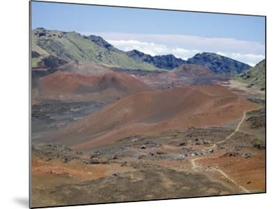 Foot Trail Through Haleakala Volcano Crater Winds Between Red Cinder Cones, Maui, Hawaiian Islands-Tony Waltham-Mounted Photographic Print