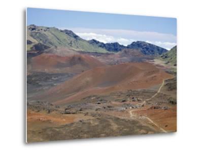 Foot Trail Through Haleakala Volcano Crater Winds Between Red Cinder Cones, Maui, Hawaiian Islands-Tony Waltham-Metal Print