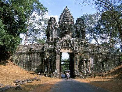 North Gate, Angkor Thom, Angkor, Unesco World Heritage Site, Siem Reap, Cambodia-Jane Sweeney-Framed Photographic Print
