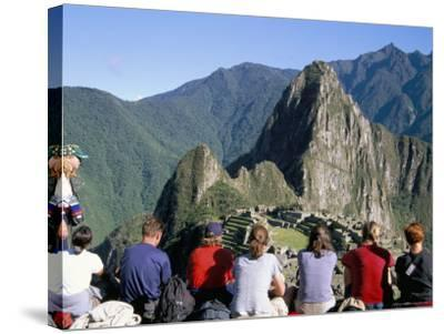 Tourists Looking out Over Machu Picchu, Unesco World Heritage Site, Peru, South America-Jane Sweeney-Stretched Canvas Print