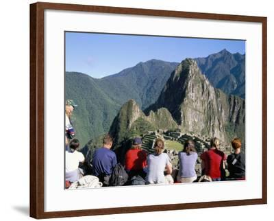 Tourists Looking out Over Machu Picchu, Unesco World Heritage Site, Peru, South America-Jane Sweeney-Framed Photographic Print