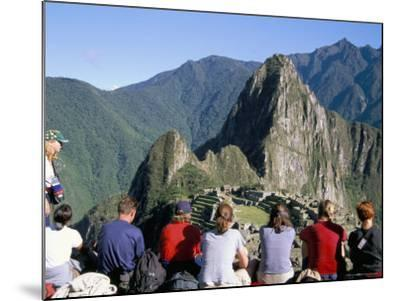 Tourists Looking out Over Machu Picchu, Unesco World Heritage Site, Peru, South America-Jane Sweeney-Mounted Photographic Print