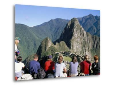 Tourists Looking out Over Machu Picchu, Unesco World Heritage Site, Peru, South America-Jane Sweeney-Metal Print