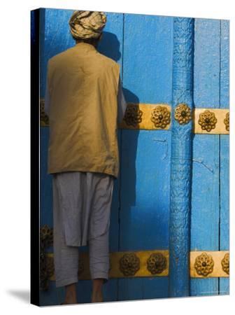Pilgrim at the Shrine of Hazrat Ali, Mazar-I-Sharif, Afghanistan-Jane Sweeney-Stretched Canvas Print