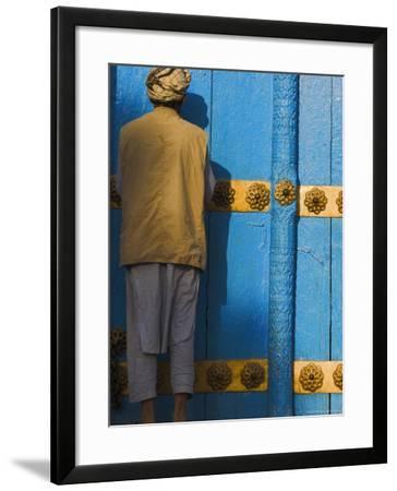 Pilgrim at the Shrine of Hazrat Ali, Mazar-I-Sharif, Afghanistan-Jane Sweeney-Framed Photographic Print