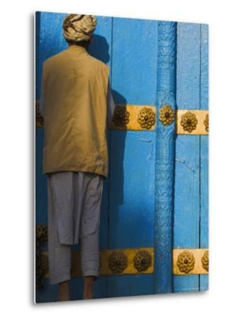 Pilgrim at the Shrine of Hazrat Ali, Mazar-I-Sharif, Afghanistan-Jane Sweeney-Metal Print