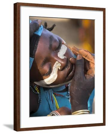 Face Painting with a Mixture of Clay, Turmi, Ethiopia-Jane Sweeney-Framed Photographic Print