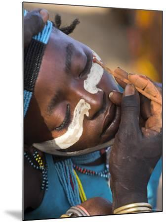 Face Painting with a Mixture of Clay, Turmi, Ethiopia-Jane Sweeney-Mounted Photographic Print