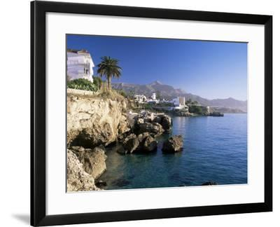 View Along Rocky Coast to Town and Mountains, Nerja, Malaga Area, Costa Del Sol, Andalucia, Spain-Ruth Tomlinson-Framed Photographic Print