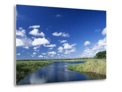 View from Riverbank of White Clouds and Blue Sky, Myakka River State Park, Near Sarasota, USA-Ruth Tomlinson-Metal Print