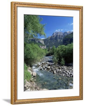 Torla, the River Ara and Mondarruego, Huesca, Pyrenees, Aragon, Spain-Ruth Tomlinson-Framed Photographic Print