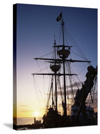 Pirate Ship in Hog Sty Bay, During Pirates' Week Celebrations, George Town, Cayman Islands-Ruth Tomlinson-Stretched Canvas Print