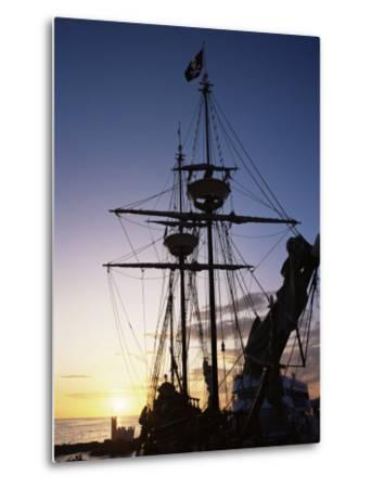 Pirate Ship in Hog Sty Bay, During Pirates' Week Celebrations, George Town, Cayman Islands-Ruth Tomlinson-Metal Print