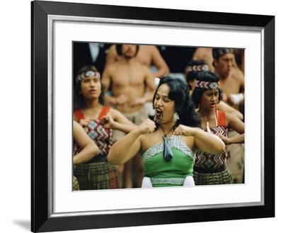 Maori Poi Dancers, Waitangi, North Island, New Zealand-Julia Thorne-Framed Photographic Print