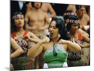 Maori Poi Dancers, Waitangi, North Island, New Zealand-Julia Thorne-Mounted Photographic Print