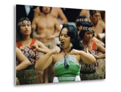 Maori Poi Dancers, Waitangi, North Island, New Zealand-Julia Thorne-Metal Print