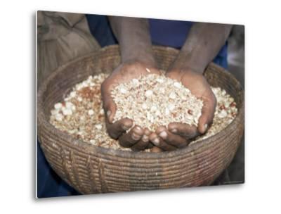 Woman Holding Handfuls of Grain, Soddo, Ethiopia, Africa-D H Webster-Metal Print