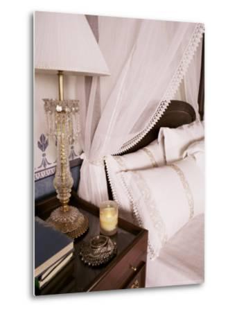 Detail of Side Table and Four Poster Bed in Bedroom, Lutyens Style Bungalow, New Delhi, India-John Henry Claude Wilson-Metal Print